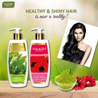 Шампунь Хна с Зеленым Чаем +Кондиционер для волос Роза и гибискус  Vaadi herbal